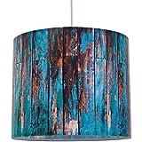 anna wand Lampenschirm WOOD TÜRKIS – Schirm für Lampen mit Motiv in Holz-Optik – Sanftes Licht für Tischleuchte/Stehlampe / Hängelampe im Wohnzimmer, Esszimmer, Schlafzimmer