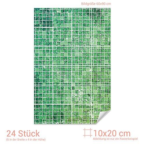GRAZDesign Fliesenposter Grüne Mosaik - Fliesen Folie marokkanisches Muster - Fliesenaufkleber Küche & Bad kleine Fliesen / 10x20cm (BxH) / 767063_10x20_60