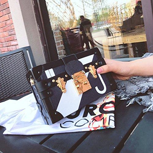 Frau Kleine Quadratische Tasche Getroffen Farbe Schulter Messenger Bag Schwarz