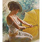 wangjian& Regenschirm Frauen Figur Malerei Acrylbild DIY Digitale Malerei Durch Zahlen Einzigartiges Geschenk Für Heimtextilien, 40x50 cm