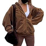 ORANDESIGNE Damen Kapuzenjacke Hoodie Jacke Hip Hop Boyfriend Style Oberteile Basic Sweatjacke Übergangsjacke
