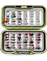 GS Fly Box Set mixtes truite Pêche à la mouche mouches Taille 12x MIXTES sèche pipi Nymphe et Lummies X 72mouches Superbe Petit cadeau de pêche de Noël ou idée de cadeau...