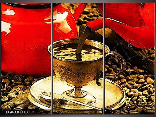 3 Tlg Leinwandbilder Wanduhr Kaffee Kaffeebohnen Schwarzer Kaffee Rote Kaffeekannen Kaffee-gießen...