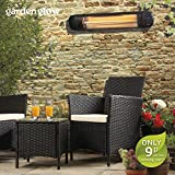 Garden Glow 2000W Large Electric Garden Outdoor Wall Mounted Patio Heater, 3 Power Settings with Remote Control (Wall Mounted Heater)