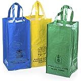 Set 3 Bolsas Reciclaje Basura Reutilizables para Papel, Vidrio y plástico Unidas Entre sí Mediante Resistentes velcros Latera