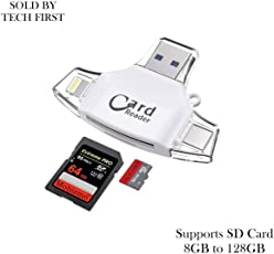 Mobizmo 4 in 1 OTG Card Reader Four Ports : Lightning + Type C + Micro USB + USB Card Reader - Like Iflash, Idisk for iPhone, Ipad, Micro USB, SDHC Lightning Flash Drive. (Mobizmo Pro Plus (White))