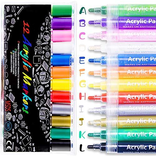 Acrylstifte Marker Stifte, 12 Farben Wasserfest Paint Marker Set mit 8 DIY Karten, Permanent Acrylic Painter für Steine Scrapbooking DIY Fotoalbum