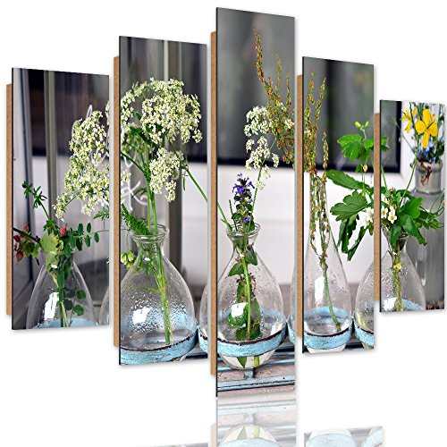Feeby. Multipart Deco Panel - 5 Parts - Wall Art Pictures, Decorative Print, Image Printed On Paper, Type A, 250x120 Cm, Vases, Glass, Flowers, Green