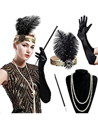 BABEYOND 1920 Flapper Accesorios Años 20 Disfraz Gatsby Conjunto de Flapper Acessorios (Diadema Collar de