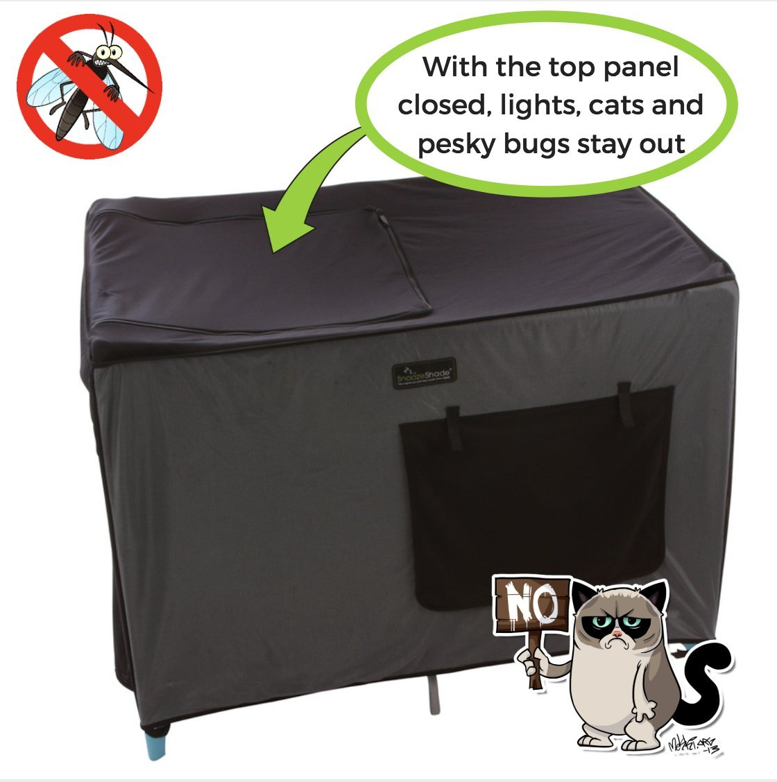 SnoozeShade Portable Blackout Blind and Canopy for Travel Cots SnoozeShade Sharing a room with your baby? There's no need to creep around in the dark (we've all done it). Let SnoozeShade make it easy. Keep the lights on without worrying about waking your little one. Invented by a British mum, it creates a comfortable darkened environment to help babies switch off and sleep in strange surroundings. Great for hotels, family visits, camping or any time you need baby to nap in the travel cot. So simple to use and easy to travel with. Just pop it over the travel cot, attach the bottom straps and you're done! Lightweight and no complicated attachments. 2