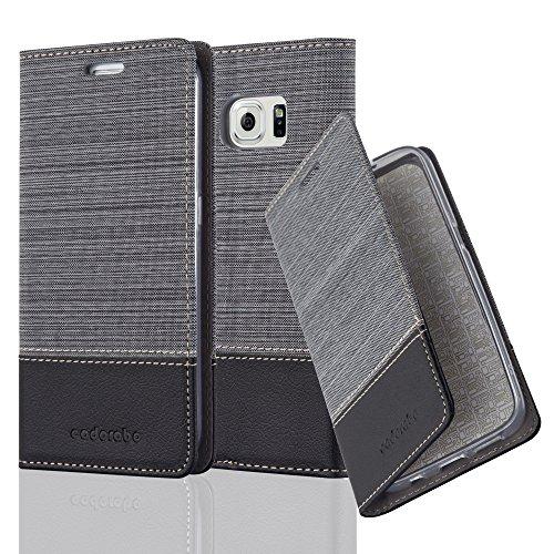 Cadorabo Hülle für Samsung Galaxy S6 Edge - Hülle in GRAU SCHWARZ - Handyhülle mit Standfunktion & Kartenfach im Stoff Design - Case Cover Schutzhülle Etui Tasche Book