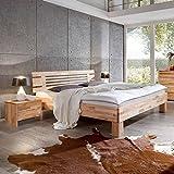 Pharao24 Bett aus Kernbuche Massiv geölt Breite 205 cm Tiefe 226 cm Liegefläche 200x220