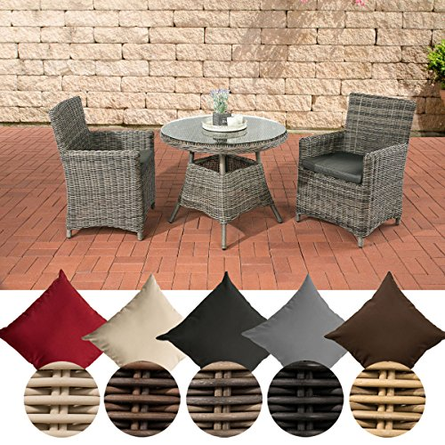 CLP Poly-Rattan Sitzgruppe QUITO, 5 mm Rund-Geflecht, Alu-Gestell (2 Sessel, Tisch rund Ø 90 cm) ideal für Balkon und Terrasse Rattan Farbe braun-meliert, Bezugfarbe: Terrabraun