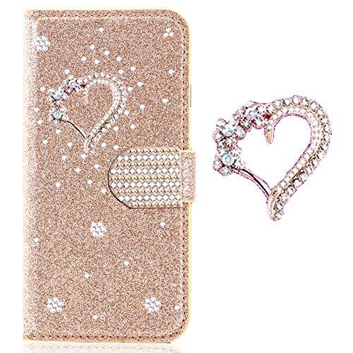 Preisvergleich Produktbild Bling Glitzer Leder Wallet Sparkle Klar Strass Diamant für Samsung A80