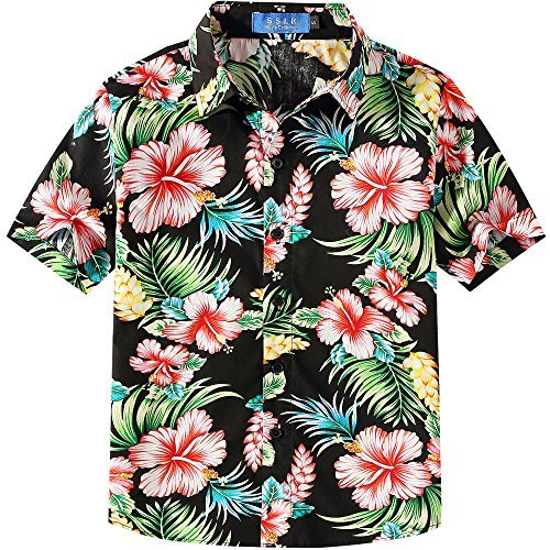 SSLR Jungen Hibiskus Baumwolle Kurzarm Casual Button Down Hawaii Hemd (Large (11-13Jahren), Schwarz)