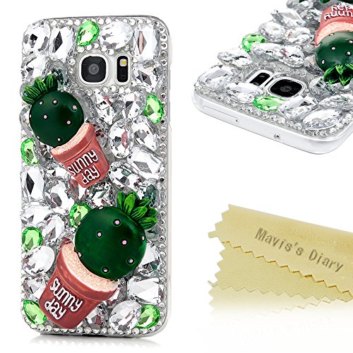 g Galaxy S7 Edge Hülle Hard Glanz Strass 3D Muster Grün Kaktus Transparent Diamant Dekoration Mode-Design Weiblich Back Cover Tasche Schutz Etui Schale Backcover Rückseite Scratch Telefon-Kasten Handyhülle Handycover Fall Euit Bumper (Weibliche Yoda)