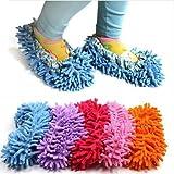 Cute Dust Mop Slippers Shoes Floor Cleaner Clean Easy Bathroom Office Kitchen(Orange) by WayGo