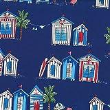 Michael Miller Stoff Strandhütten–Beach Huts blau–mm572–0,5Meterware–von 100% Baumwolle