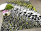 Carat Designer Teppich Leopard Zebra Grau Grün in 3 Größen