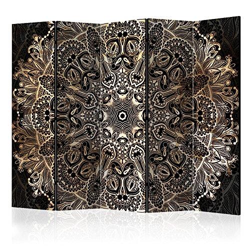 murando Raumteiler Foto Paravent 225x172 cm beidseitig auf Vlies-Leinwand Bedruckt Trennwand Spanische Wand Sichtschutz Raumtrenner Mandala Ornament schwarz beige Gold f-A-0604-z-c