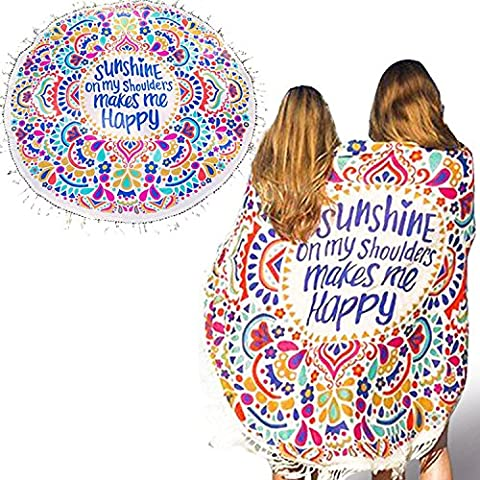 Vandot Sunshine Printing Pattern Tassel Round Mandala Tapestry, Hippie Hippy Style, Throw Bedding Bedspread, Gypsy Wall Hanging, Indian Boho Gypsy Cotton Tablecloth Beach Towel, Decorative Wall Hanging, Round Meditation Yoga Mat-Diameter 150cm (60