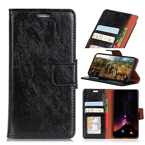 BONROY Nokia 7.1 Hülle - Kunstleder Wallet Case für Nokia 7.1 mit Kartenfächern und Stand - (KL Napa - Schwarz)