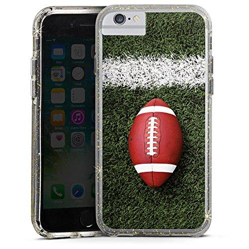 Apple iPhone X Bumper Hülle Bumper Case Glitzer Hülle Football Field Goal Sport Bumper Case Glitzer gold