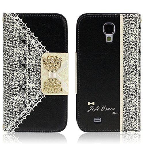 ukamshop-cute-pink-lace-bow-flip-wallet-leather-case-cover-samsung-galaxy-s4-black