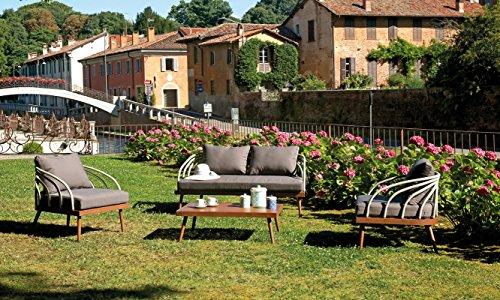 Ensemble de jardin coloris bois et gris en aluminium / imitation bois -PEGANE-