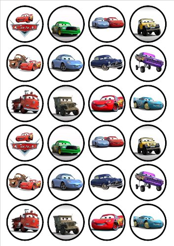 Image of Disney Cars Edible PREMIUM THICKNESS SWEETENED VANILLA,Wafer Rice Paper Cupcake Toppers/Decorations