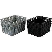 Qqbine Lot de 6 paniers de rangement en plastique Noir/blanc/gris