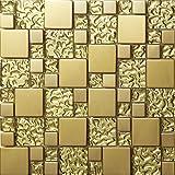 Mosaico de alto nivel Mezcla de cristal de acero inoxidable mosaico pared del modelo Azulejos de mosaico Art Deco acero inoxidable mosaico Tamaños mixtos 300*300mm Cocina backsplash / ducha de pared de la pared de la pared / Hotel pasillo pared de la frontera / piso residencial de piso y aplicaciones de la pared(SA073) (1 pieza(300*300mm), SA073-36)