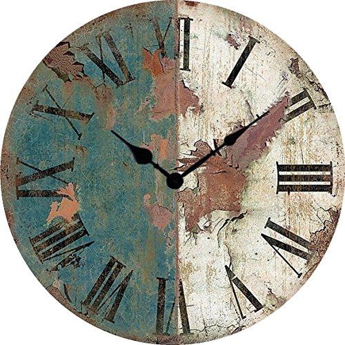 Artesanías de madera antiguo reloj americano forja reloj estilo retro pared cuadros pared madera grande reloj diámetro 34/40/50/60 cm,A,24 pulgadas