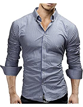 MERISH Hombre Camisas de vestido formal de Manga Larga Slim Fit Cuadrado Modell 48