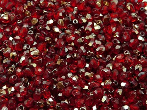 100pcs Tchèque facettes perles de verre, Fire-Polished Beads, ronde 4mm Ruby Valentinit