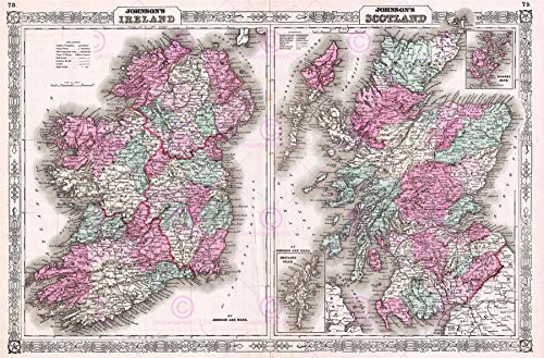 1866 Antique Print (Doppelganger33 LTD Map Antique 1866 Johnson Scotland Ireland Old Large Replica Canvas Art Print)