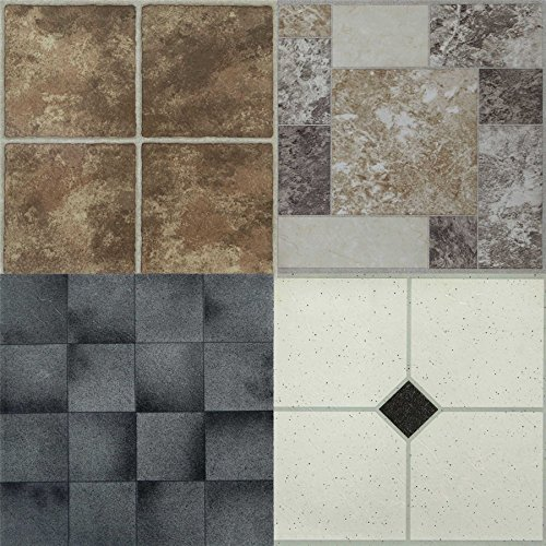 Large Self Adhesive Vinyl Floor Tiles | Marble Design | Kitchen and Bathroom Lino Flooring | Stick On PVC Wall Covering | Pack of 4 | 30 X 30cm Each - Stone Marble
