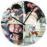 Personello Küchenuhr mit 4 Fotos Personalisiert (29x29cm), Fotouhr aus Glas, geräuschlos