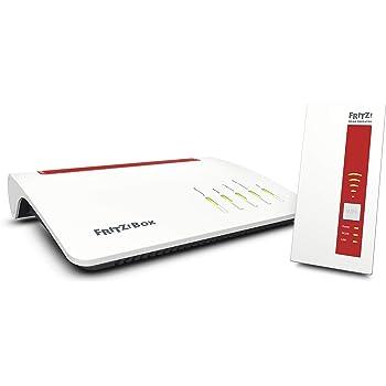 AVM Fritz Mesh Set (mit Fritz Box 7590 und WLAN Repeater 1750E, Dual-WLAN AC bis 1.733 MBit/s (5 GHz) und N bis 800 MBit/s (2,4 GHz), bis 300 Mbit/s durch VDSL-Supervectoring 35b, deutschspr. Version)