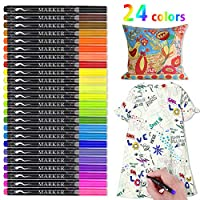 Fabric Marker, RATEL 24 Colors Textile Marker No Bleed Non Toxic Fabric Pen Permanent and Washable T-Shirt Marker,Ideal for Decorate T-shirts, Bibs, Textiles, Shoes, Handbags, Graduation Signatures