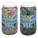 Hama Bügelperlen 2-tlg Set Perlendose 211-50 Pastell + 211-54 Glitter je mit 13000 Perlen = 26000 Perlen