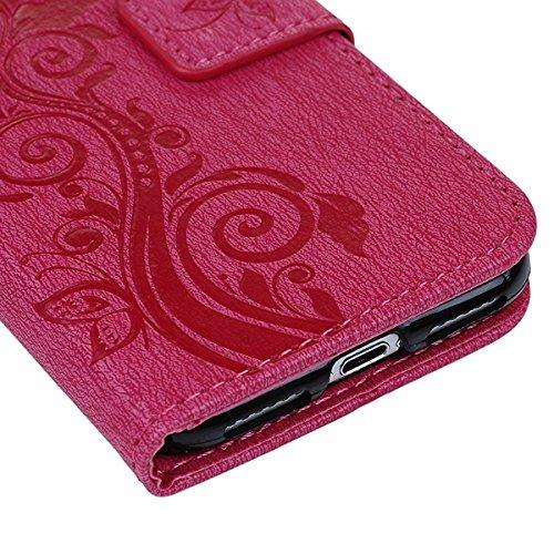 GrandEver iPhone 7 Lederhülle Rose Red Drucken Weinstock Ledercase Leder Tasche Hülle Schutzhülle Scratch Handschlaufe Handycover Brieftasche Schale Wallet Flip Case Cover mit weiche Silikon Backcover Rose Red