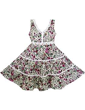 Mädchen Kleid V-ausschnitt Schnüren Trimmen Blume Blätter Drucken