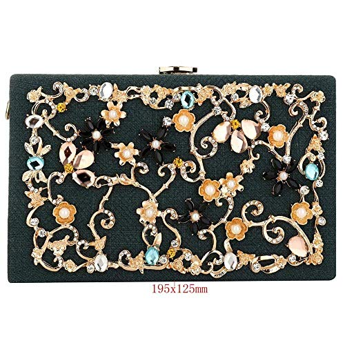 Nuanxin Strass Blume Clutch, Umhängetasche, Damen Abendtasche, Grün Schwarz Rot Handtasche Kette Mit Weiblicher Tasche, Leinen Hohl Diamant U10