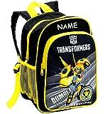alles-meine GmbH Kinder Rucksack -  Transformers - Bumblebee / Roboter  - inkl. Name - Tasche - wasserfest & beschichtet - Kinderrucksack / groß Kind - Trinkflaschenhalter -..