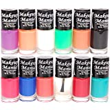 Makeup Mania Nail Polish Set Combo (Purple, Orange, White, Green, Nude, Black, Blue, Red, Turquoise, Pack of 12)