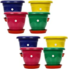 Kraft Seeds Gamla/Planter/Pot 10 Inches (Set of 8) with Round Plastic Plant Saucer/Bottom Plate 6 Inches, SKSPLN026