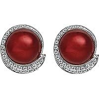 EVBEA Orecchini Clip Vintage Rosso Perla Finta Orecchini Moda Cristallo Diamante Fiore Orecchini per Donne con Scatola…