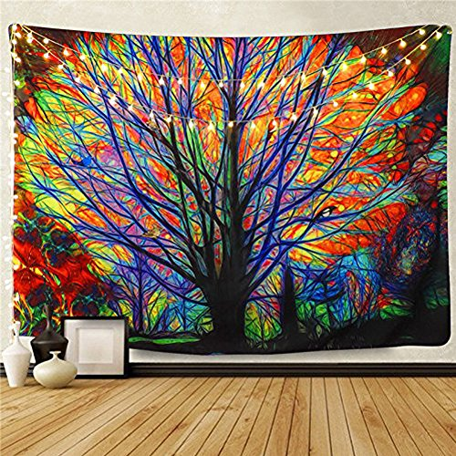TAINXIN Tapiz de árbol Colorido para Colgar en la Pared, árbol de Ensueño, Bosque psicodélico con Pájaros, Tapiz de Pared, Mandala Bohemia Hippie para Dormitorio, Sala de Estar, Dormitorio