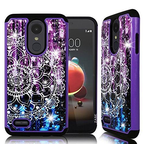 LG Tribute Dynasty Fall, LG Aristo 2(X210) Dual Layer Juwel Strass Bling glitzernden [stoßfest stoßabsorbierenden] Defender Protective Hard Cover von Zase, Diamond Purple Mandala (Lg Tribute Defender Case Bling)